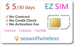 EZ SIM $5/30days Prepaid Phonecard